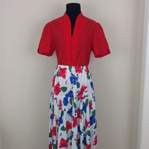 Vintage outfit 1980s floral skirt red top sz sm